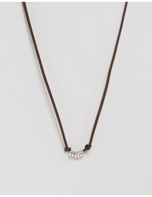 Asos | Коричневое Кожаное Ожерелье С Монетками Коричневый
