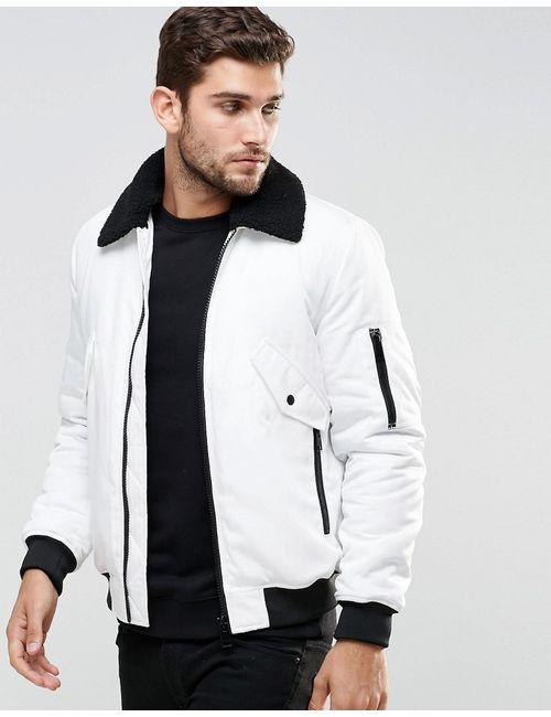 Asos | Белая Белая Курткапилот С Воротником Борг Белый