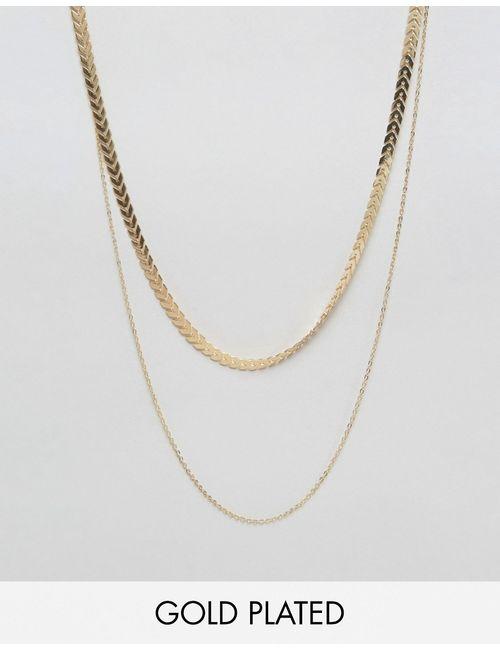 NYLON | С Золотым Покрытие Позолоченное Ожерелье В Два Ряда С Золотым