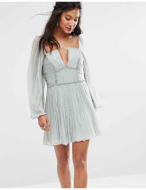 Free People | Женское Плиссированное Платье С Бретелями Aquarius Мятный 3315