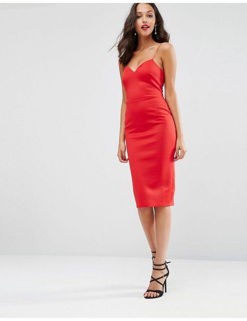 Asos   Женское Красное Облегающее Платье Миди С Глубоким Вырезом Красный