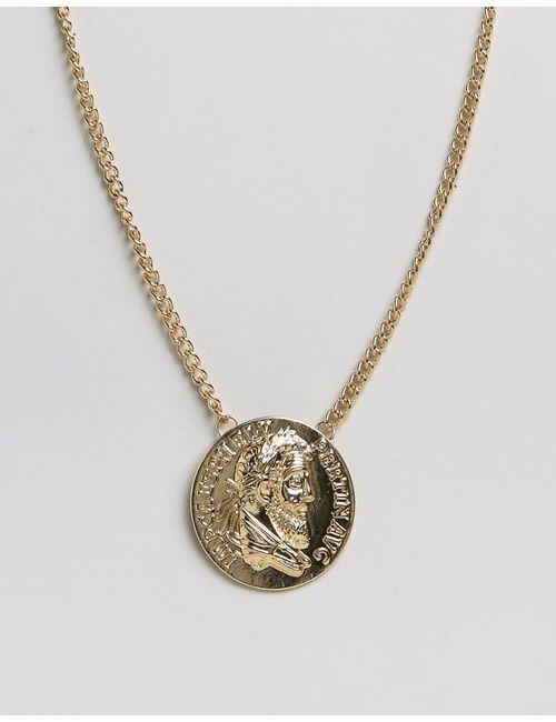 Asos | Золотое Золотистое Ожерелье С Oversize-Монетой Золотой