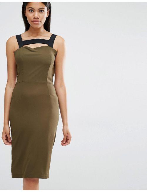 Love | Женское Хаки Платье С Контрастными Лямками Хаки