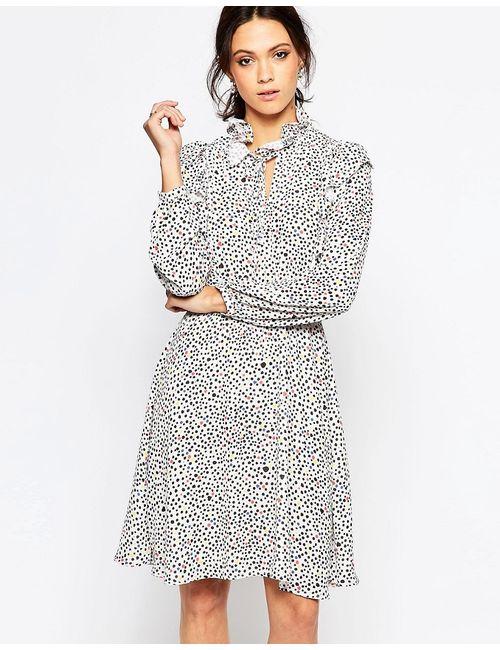 Ivana Helsinki | Женское Многоцветное Цельнокройное Платье С Принтом И Высоким Воротом