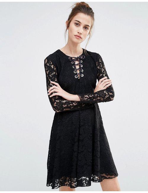 Sportmax Code | Женское Чёрное Кружевное Свободное Платье Oronte 003 Черный
