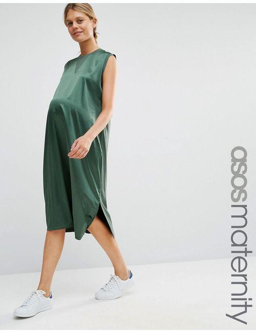 ASOS Maternity | Женское Зелёное Платье Миди Для Беременных С Атласным Передом