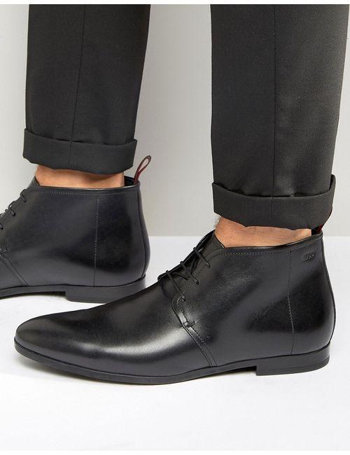 Hugo | Мужские Чёрные Кожаные Ботинки На Шнуровке Paris Черный