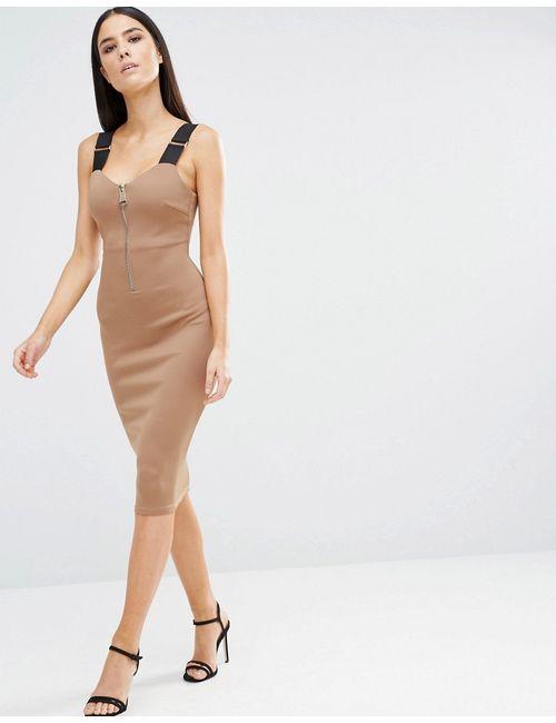 AX Paris   Женское Мокка Облегающее Платье Миди На Молнии С Бретельками