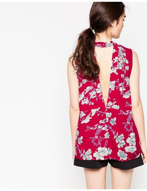 Minimum | Женский Красный Топ С Цветочным Принтом Vallia Насыщенный Красный