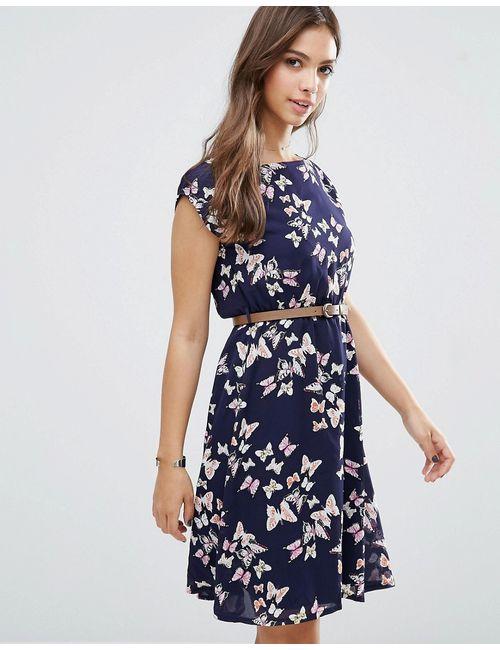 Yumi | Женское Синее Платье С Принтом Бабочек Темно-Синий