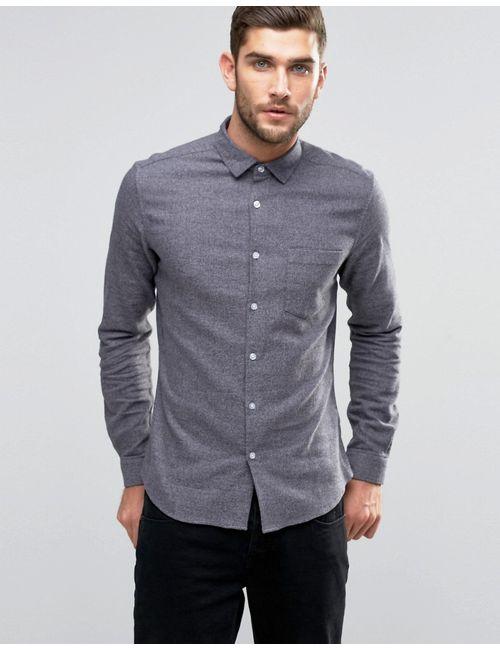 Asos | Мужская Серая Серая Меланжевая Рубашка Скинни С Длинными Рукавами