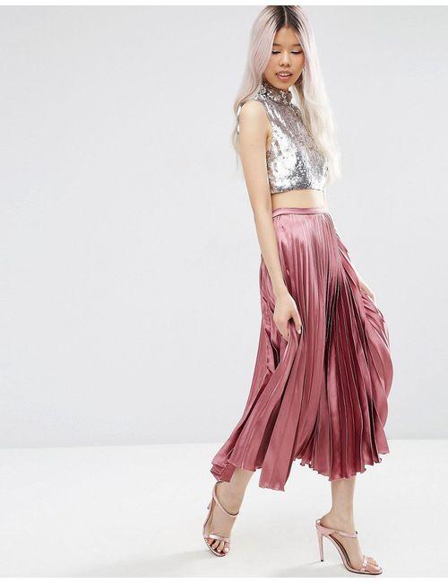 Asos | Женская Фиолетовая Плиссированная Атласная Юбка Миди Сиреневый