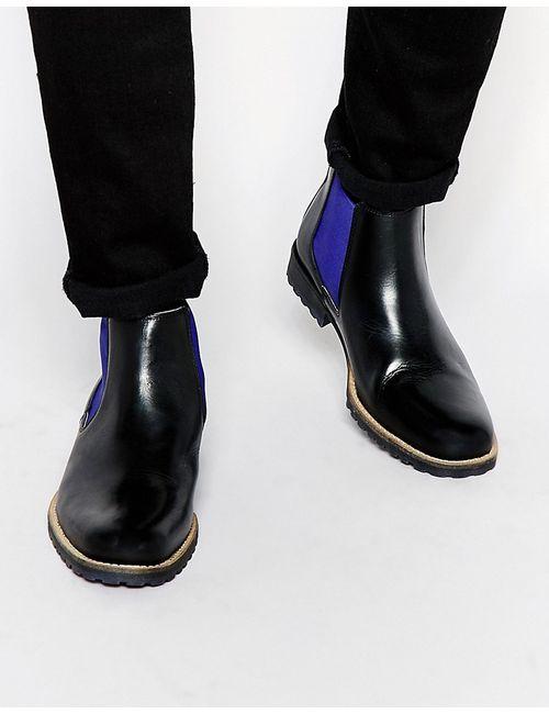 Dune | Мужские Чёрные Кожаные Ботинки Челси Chiggy Черный