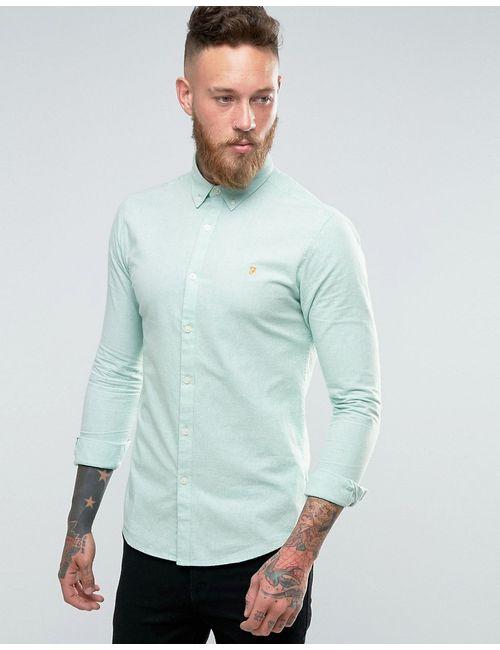 Farah | Синяя Оксфордская Рубашка Зауженного Кроя Из 2-Цветной Пряжи
