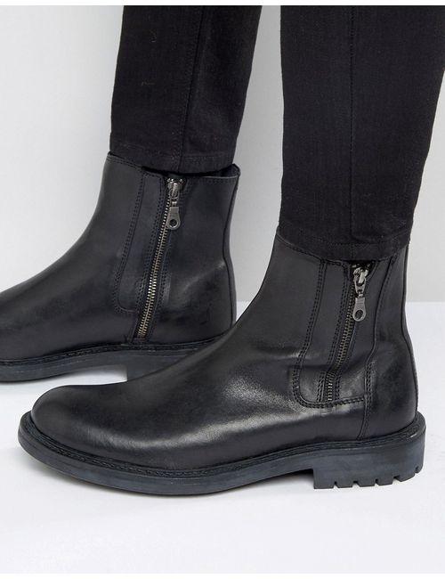 WALK London | Мужские Чёрные Кожаные Ботинки С Двумя Молниями Maida Vale