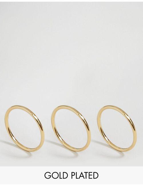 Pilgrim | С Золотым Покрытием Набор Из 3 Позолоченных Колец С Золотым