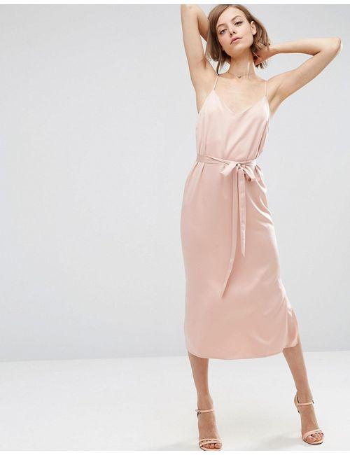 Asos | Розовое Атласное Платье-Сорочка Миди С Поясом Светло-Розовый