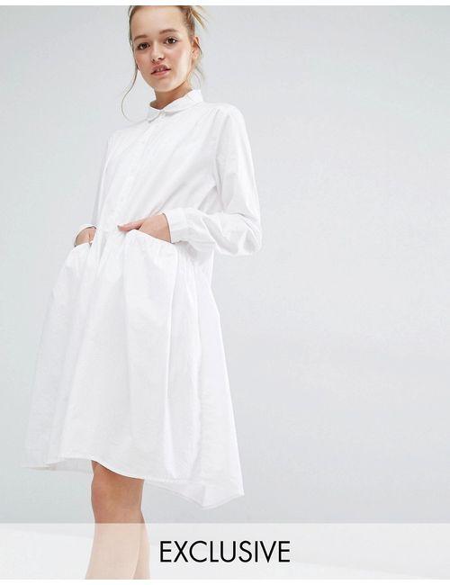 Monki   Белое Эксклюзивное Платье С Присборенной Юбкой