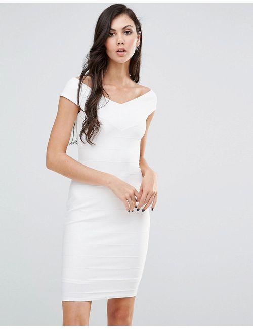 Lipstick Boutique | Белое Платье-Футляр С Широким Вырезом Белый