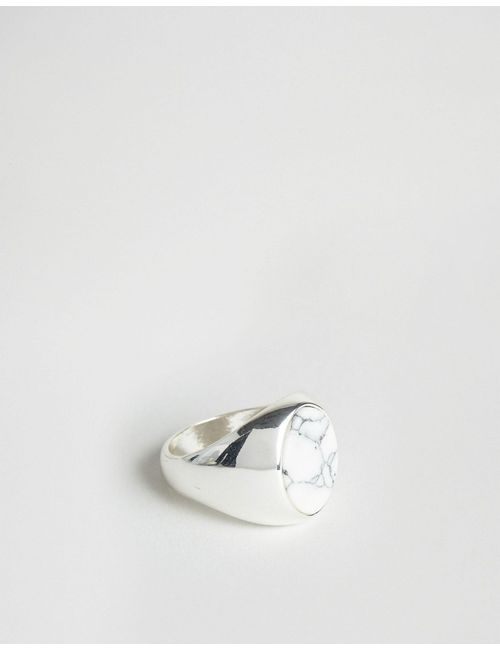 Chained & Able | Мужское Белое Кольцо С Овальным Камнем Серебряный
