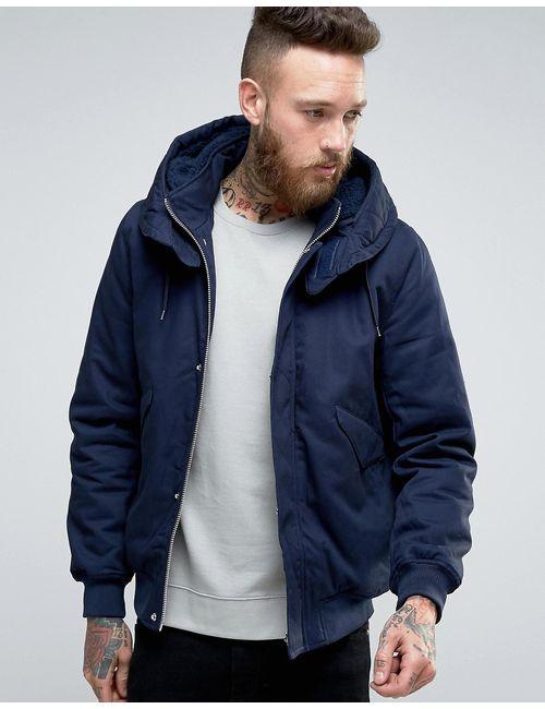 Asos | Мужская Темно-Синяя Куртка С Капюшоном На Подкладке Borg