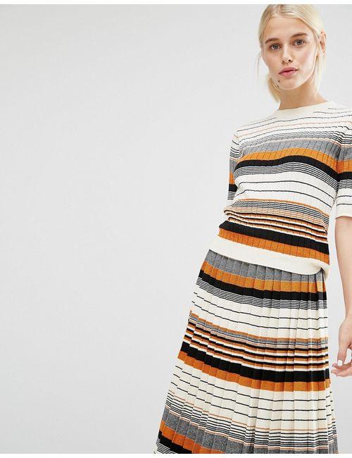 Monki | Женский Трикотажный Топ В Полоску Lurex Stripe