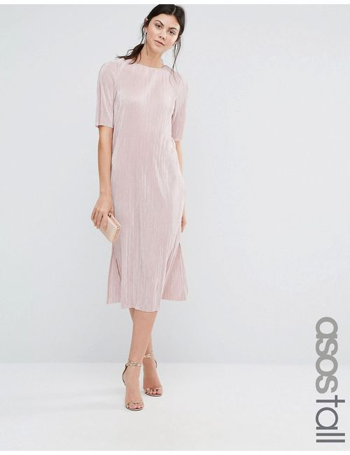 ASOS TALL | Plisse T-Shirt Dress Blush