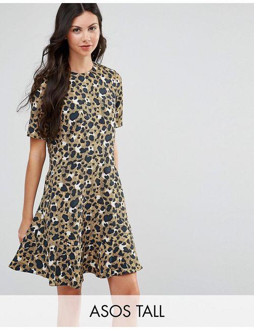 ASOS TALL | Drop Waist Dress In Animal Print Мульти