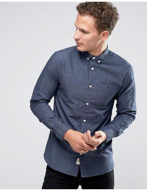 Selected Homme | Мужская Рубашка На Пуговицах Темно-Синий