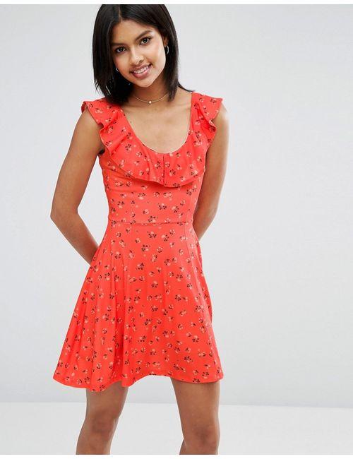 Asos | Женское Короткое Приталенное Платье С Цветочным Принтом И