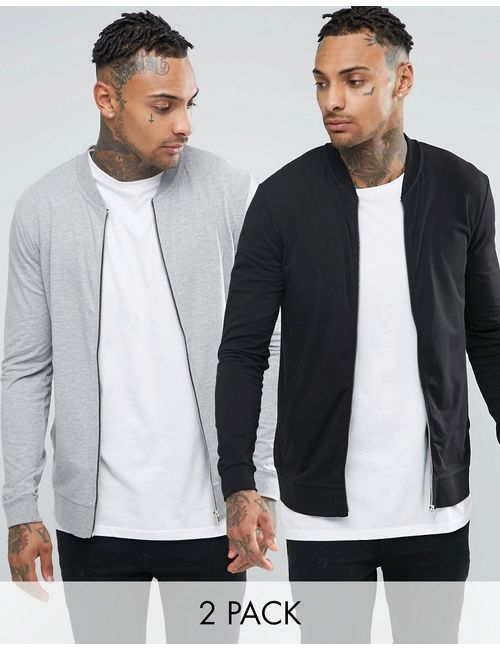 Asos | Lightweight Muscle Jersey Bomber 2 Pack Black/
