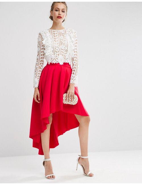 Asos | Женская Юбка Для Выпускного Асимметричной Длины Premium Красный