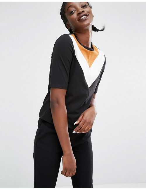 Monki | Chevron Varsity Top Black Mustard