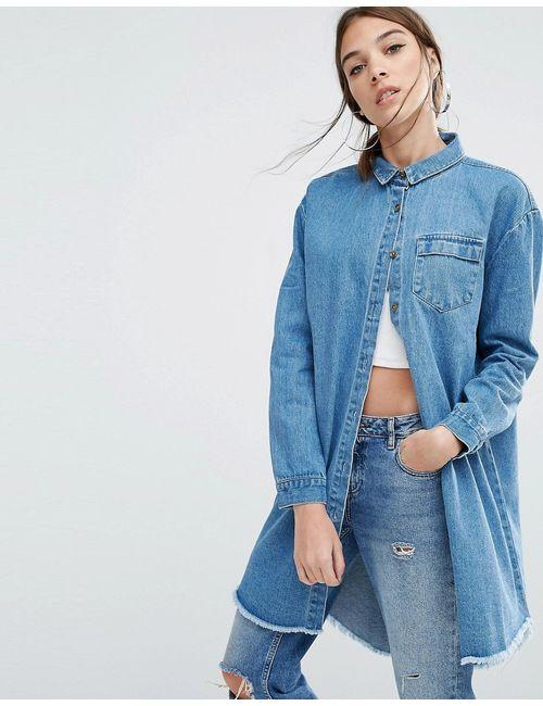 Daisy Street | Джинсовая Куртка-Рубашка Свободного Кроя С Необработанным Подолом