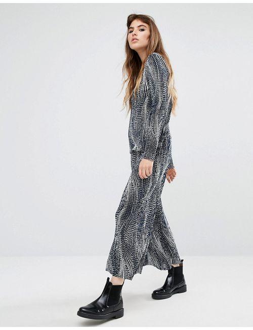 Reclaimed Vintage | Printed Plisse Wide Leg Trousers Co-Ord Синий