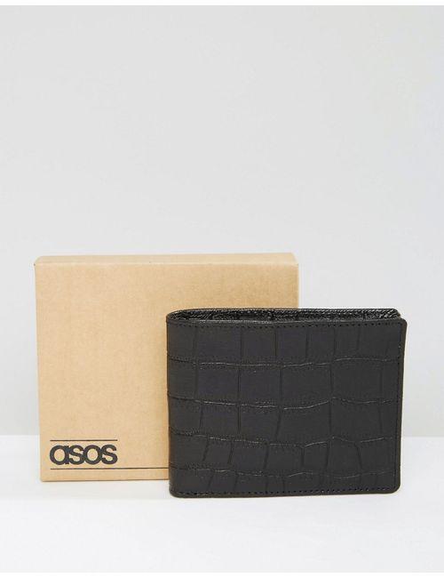 Asos | Кожаный Кошелек С Тисненым Крокодиловым Принтом Черный