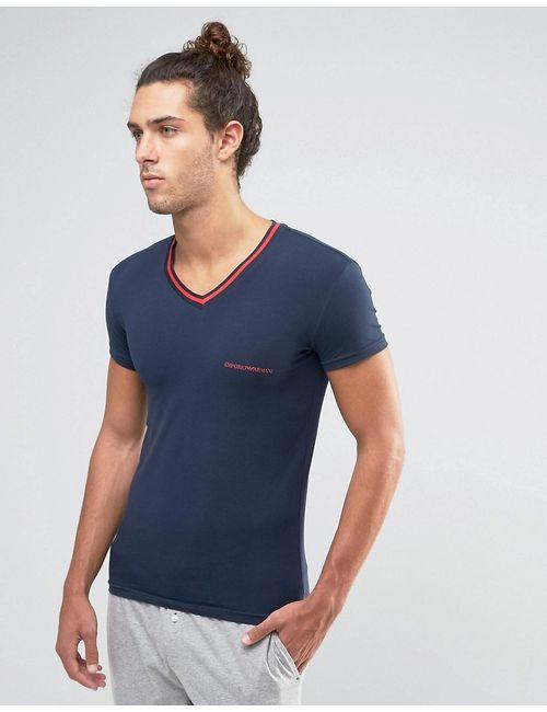 Emporio Armani | Мужская Облегающая Футболка С V-Образным Вырезом И Контрастной