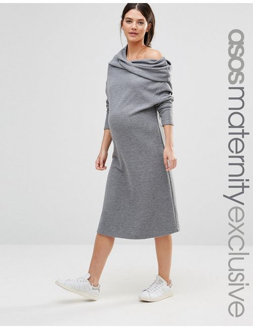 ASOS Maternity | Lounge Slouchy Dress With Cowl Neck Серый