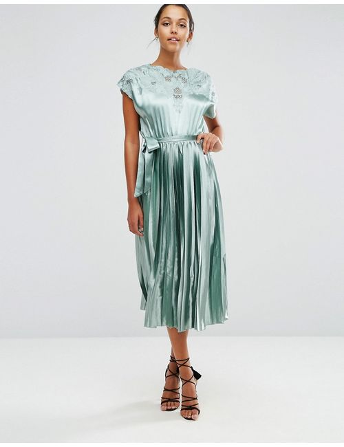 Asos | Lace Top Satin Pleated Midi Dress Мятный