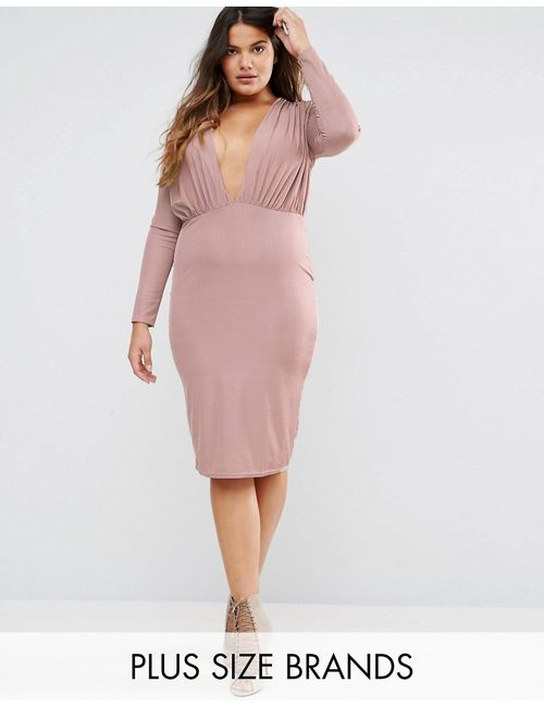 Missguided Plus | Slinky Plunge Bodycon Midi Dress Mauve