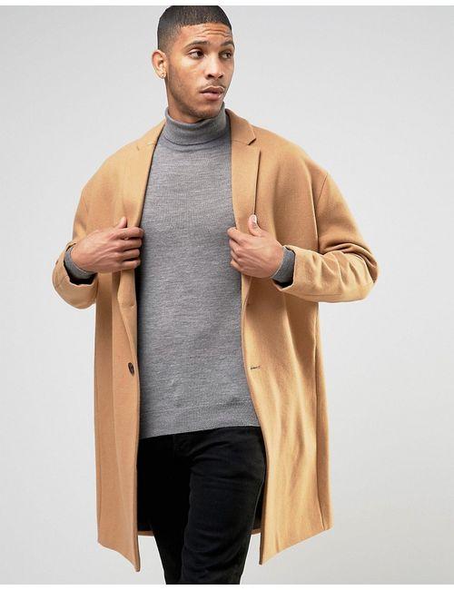 Asos | Мужское Бежевое Шерстяное Пальто С Заниженной Линией Плеч