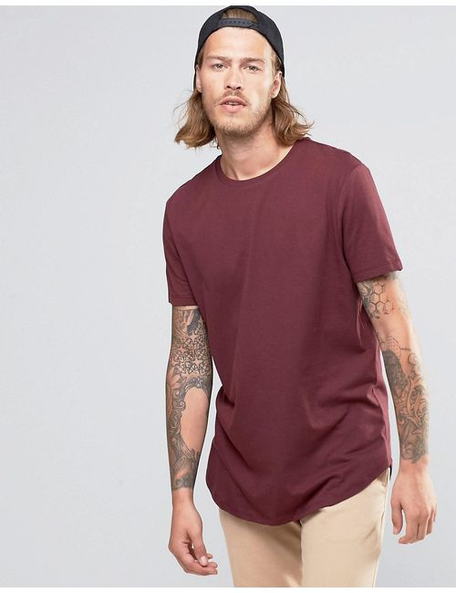Asos | Longline T-Shirt With Curved Hem In Red
