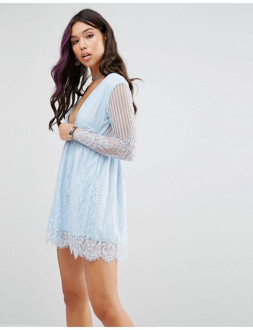 Motel   Женское Приталенное Кружевное Платье С Запахом Синее Кружево