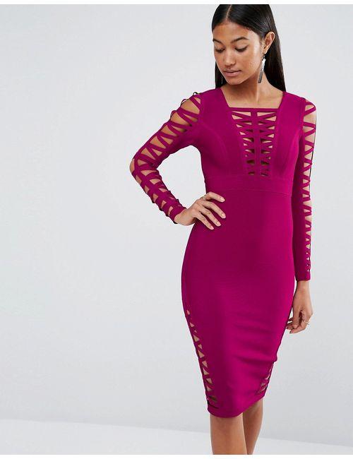 WOW Couture | Женское Облегающее Платье С Вырезами Wine