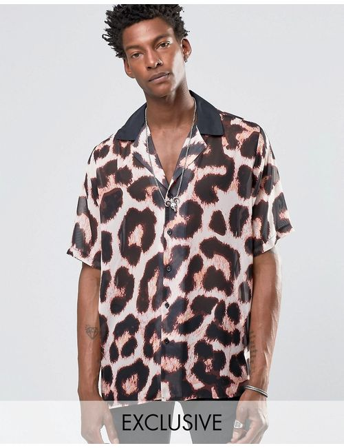 Reclaimed Vintage | Мужская Рубашка С Отложным Воротником И Леопардовым Принтом