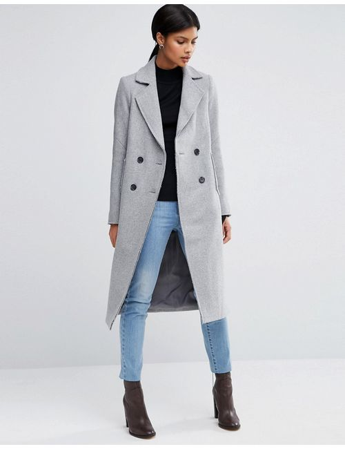 Asos | Wool Blend Coat With Raw Edges And