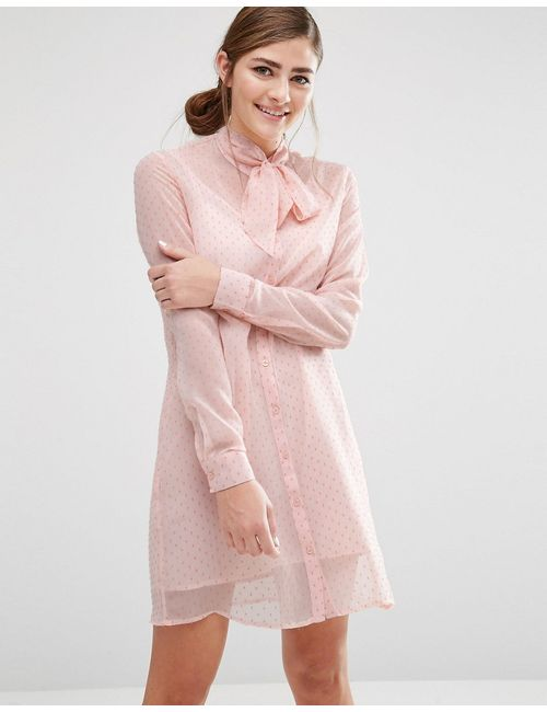 Fashion Union | Shirt Dress With Sheer Layer And Bow