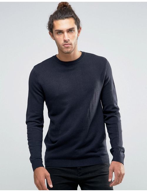 Asos | Crew Neck Jumper In Navy Темно-Синий