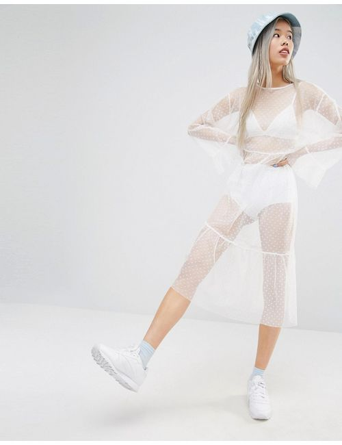 STYLE NANDA | Stylenanda Spotted Mesh Maxi Dress Белый
