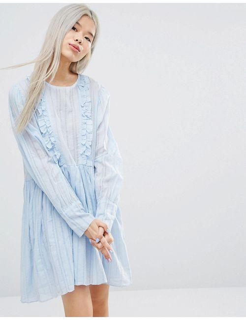 STYLE NANDA | Stylenanda Long Sleeve Smock Dress With Woven